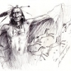 "The initial sketch of the shamanic figure that inspired ""The Magician."""